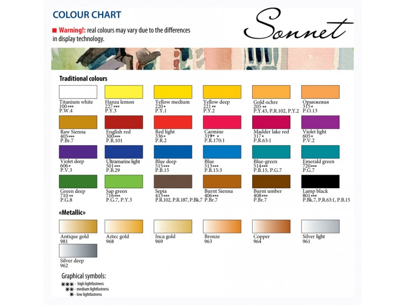 532ee9491ede Color Charts - Pigment Information on Colors and Paints